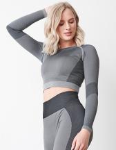 Ladies´ Seamless Panelled Long Sleeve Crop Top